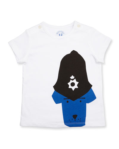 Police Dog Jersey Tee, White, Size 6M-3