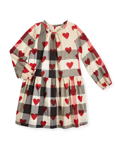 Philippa Long-Sleeve Smocked Heart & Check Dress, Parade Red, Size 4-14