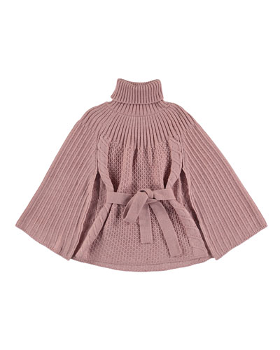 Ribbed Turtleneck Poncho, Pink, Size 8-14