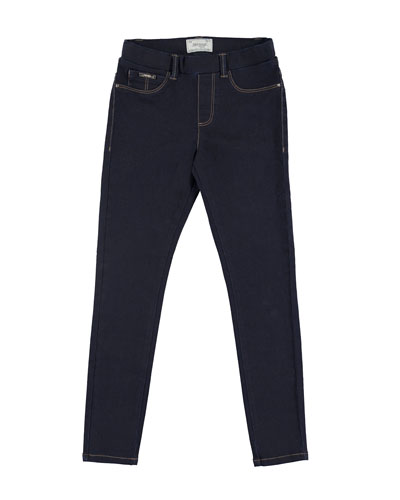 Basic Denim Stretch Leggings, Dark Blue, Size 8-14