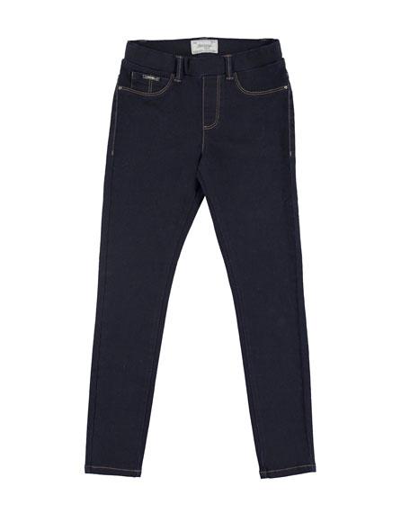 Mayoral Basic Denim Stretch Leggings, Dark Blue, Size