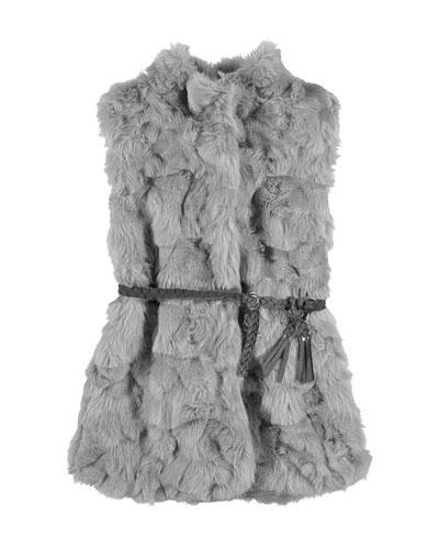 Belted Faux-Fur Vest, Gray, Size 8-14