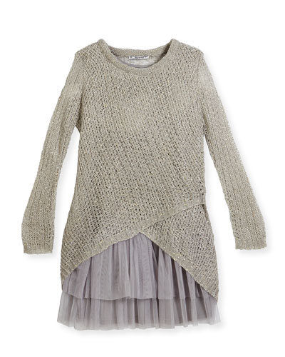 Long-Sleeve Crochet Sweaterdress, Beige, Size 8-14