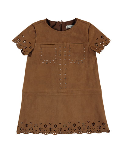 Short-Sleeve Faux-Suede Eyelet Shift Dress, Chestnut, Size 3-6