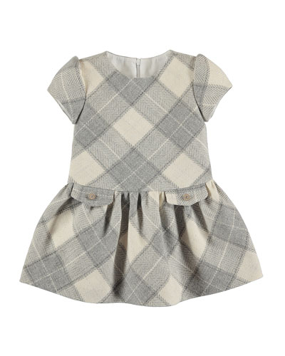 Cap-Sleeve Metallic Herringbone Plaid Dress, Gray, Size 3-6