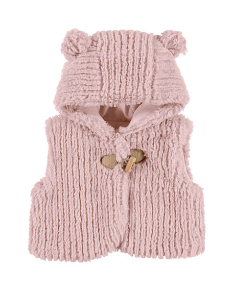Hooded Faux-Fur Vest, Pink, Size 3-24 Months