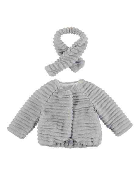 MAYORAL Faux-Fur Textured-Stripe Coat w/ Scarf, Chromium, Size