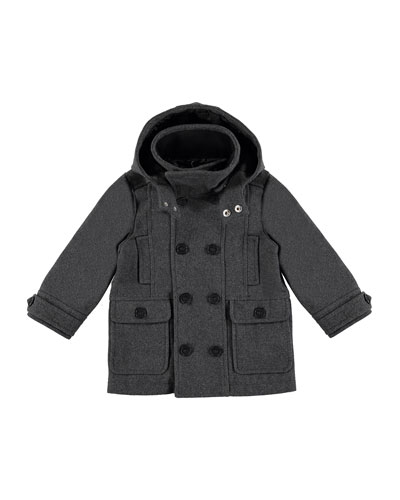 Hooded Double-Breasted Jacket, Gray, Size 3-6