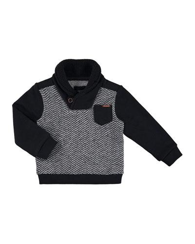 Herringbone Pullover Sweater, Gray, Size 3-6
