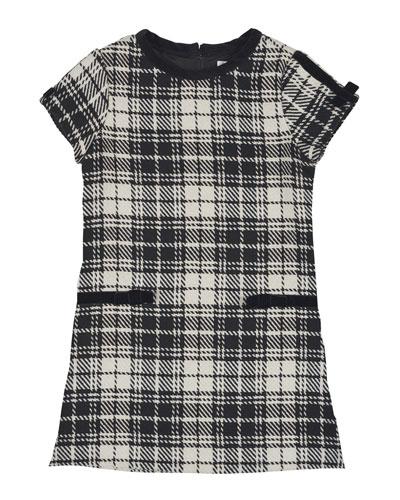 Cap-Sleeve Plaid Velvet-Trim Shift Dress, Black/White, Size 4-6X