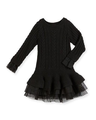 Long-Sleeve Tiered Cable-Knit Dress, Black, Size 4-8