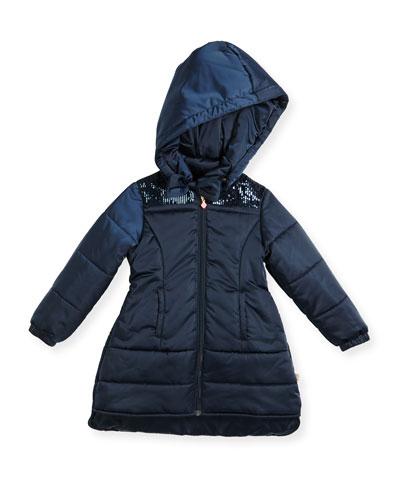 Hooded Sequin-Trim Puffer Coat, Navy, Size 4-8
