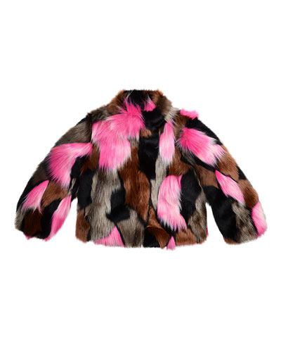 Greta Cropped Faux-Fur Jacket, Flamingo/Multicolor, Size 2-6