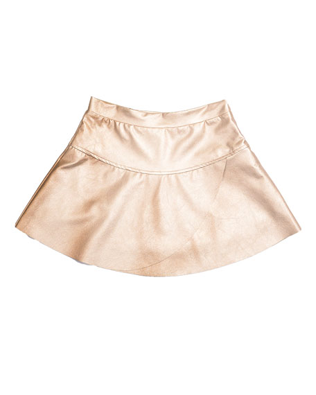 Imoga Ingrid Faux-Leather Overlap Skirt, Matte Gold, Size