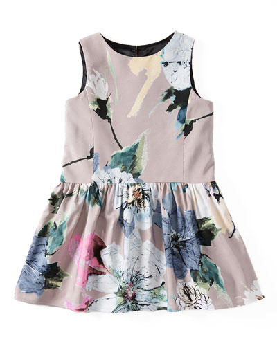 Sleeveless Paper Floral Party Dress, Petal, Size 8-14
