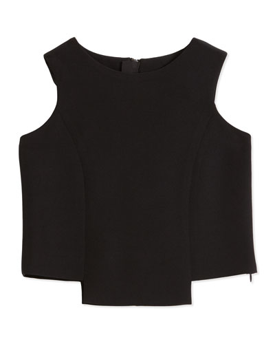 Italian Cady Seamed Cropped Top, Black, Size 8-14