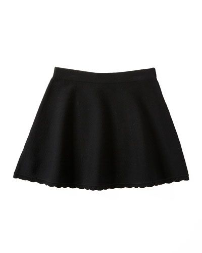 Scalloped Flare Skirt, Black, Size 8-14