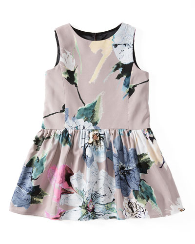 Sleeveless Paper Floral Party Dress, Petal, Size 4-7
