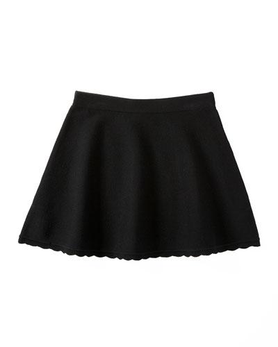 Scalloped Flare Skirt, Black, Size 4-7