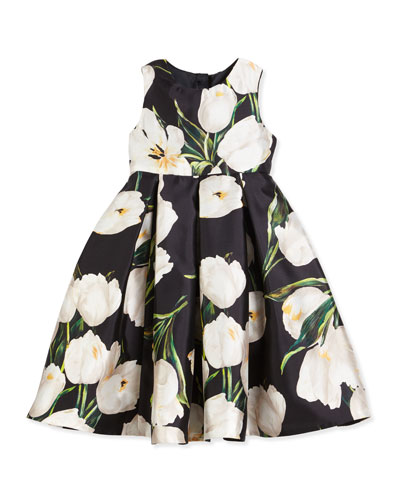 Sleeveless Pleated Mikado Tulip Dress, Black, Size 2-6