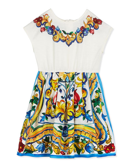 Dolce & Gabbana Floral Majolica Combo Dress, White,
