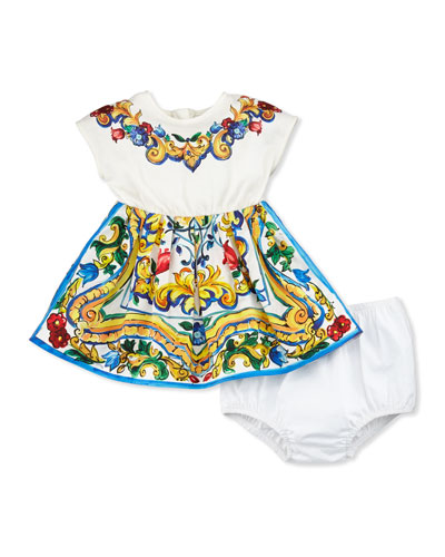 Cap-Sleeve Floral Majolica Combo Dress, White, Size 3-24 Months