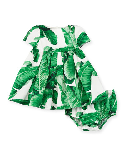 Short-Sleeve Poplin Banana Leaf Dress, White/Green, Size 3-24 Months