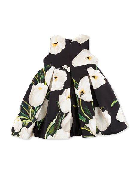 Dolce & Gabbana Sleeveless Pleated Mikado Tulip Dress w/ Bloomers, Black, Size 3-24 Months