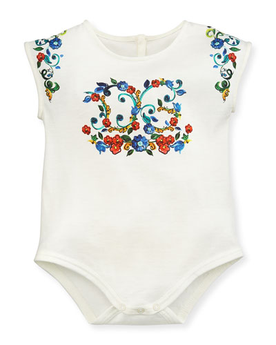 Floral Majolica Jersey Playsuit, White, Size 3-24 Months