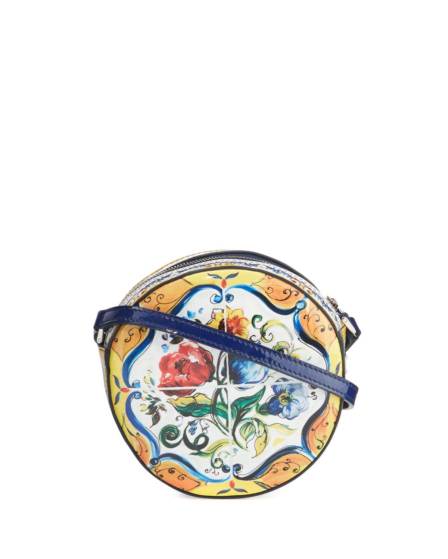 ac147459cf Dolce & Gabbana Girls' Floral Majolica Leather Crossbody Bag, Multicolor