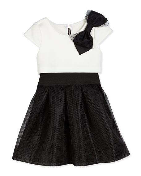 ZoePark Ave Princess Flyaway Cap-Sleeve Scuba Combo Dress,