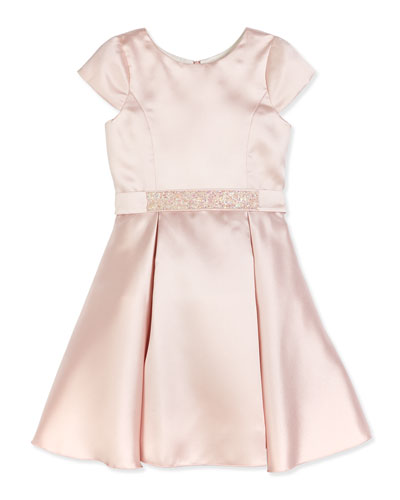 Sweet Treat Cap-Sleeve Fit-and-Flare Dress, Blush, Size 7-16
