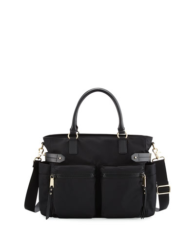 Zoe Nylon Diaper Bag, Black