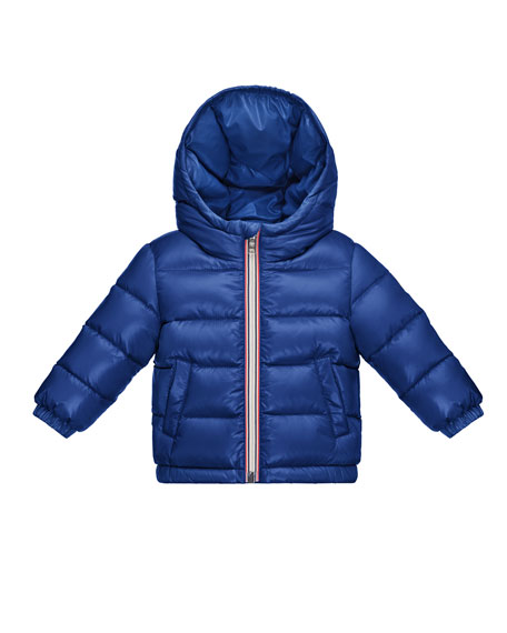 Moncler Aubert Quilted Zip-Front Puffer Jacket, Blue, Size