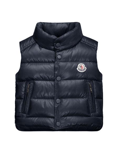 Moncler Bernard Zip-Trim Puffer Vest, Navy, Size 12M-3