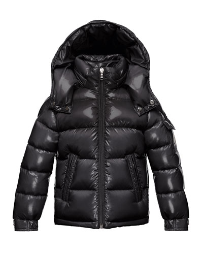 Maya Quilted Down Jacket, Black, Size 4-6