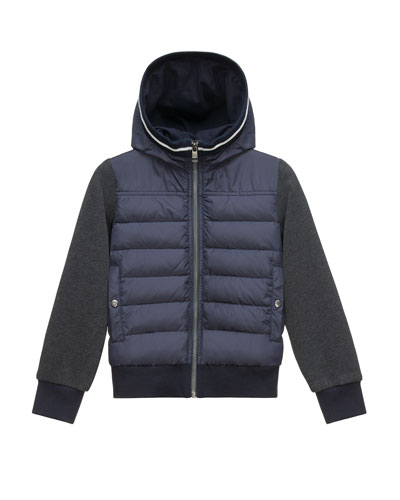 Hooded Fleece Zip-Front Jacket, Light Gray, Size 4-6