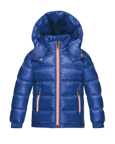 Moncler Gaston Web-Trim Quilted Down Coat, Bright Blue,