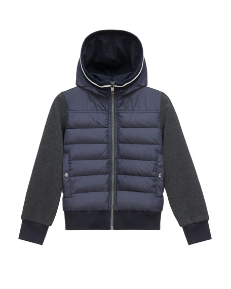 Moncler Hooded Fleece Zip-Front Jacket, Light Gray, Size