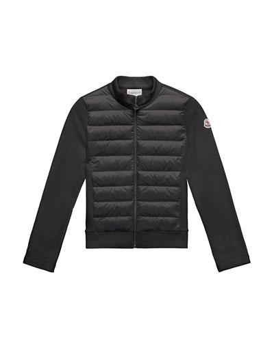 Maglia Knit Zip Cardigan w/ Down Front, Black, Size 8-14