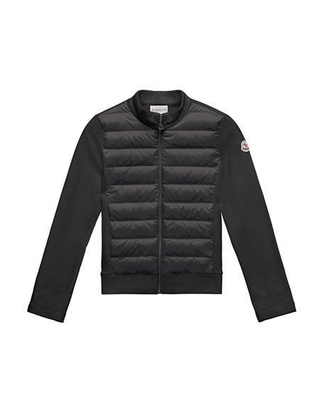 Moncler Maglia Knit Zip Cardigan w/ Down Front,