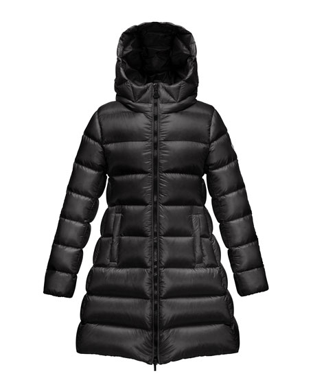 Suyen Hooded Long Puffer Coat, Black, Sizes 8-14