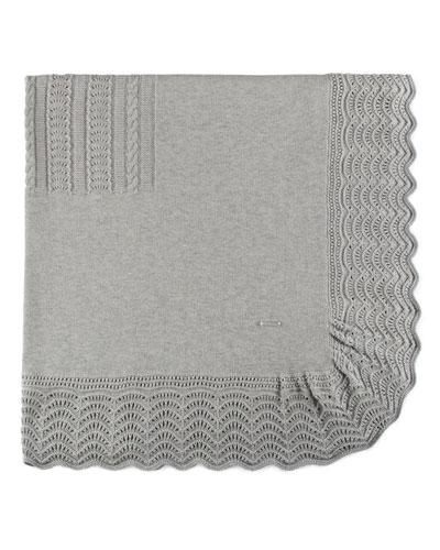 Scalloped Cotton-Blend Blanket, Gray