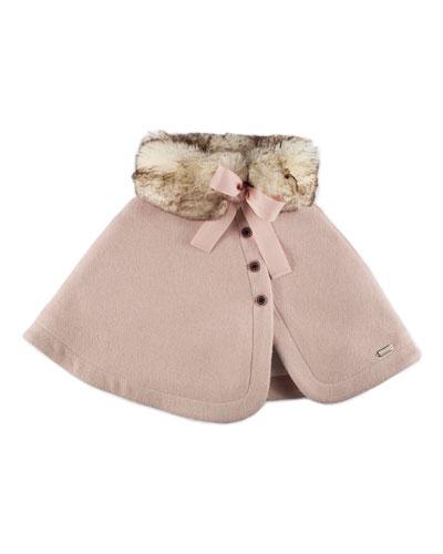 Felted Button-Front Faux-Fur-Trim Capelet, Pink, Size 4-6