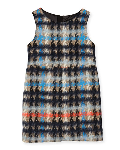 Sleeveless Houndstooth Shift Dress, Multicolor, Size 8-14