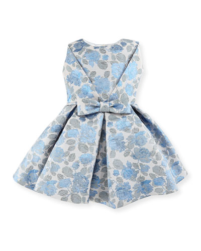 Pleated Floral Jacquard Dress, Blue/Silver, Size 7-14