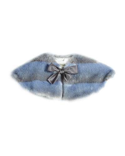 Striped Faux-Fur Cape, Blue/Gray, Size XS-L