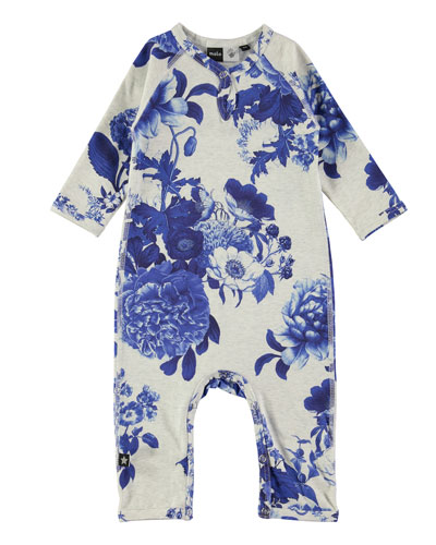 Fiona Porcelain Flowers Jersey Coverall, Gray/Blue, Size 3-12 Months