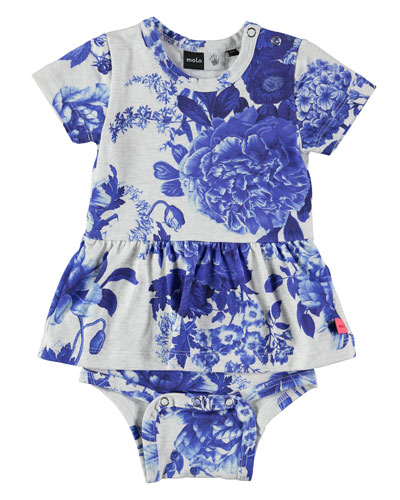Frannie Porcelain Flowers Play Dress, Gray/Royal, Size 3-12 Months