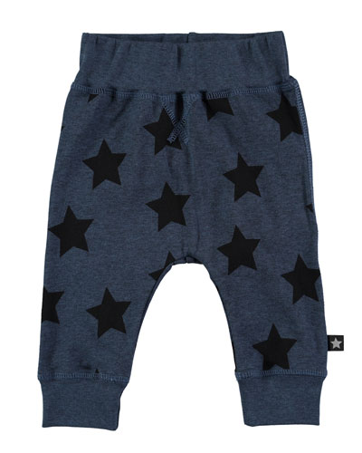 Sammy Star-Print Track Pants, Blue, Size 12-24 Months